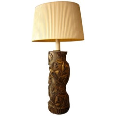 Antique Golden Wood Torchon Table Lamp Carved Column Grape Branch Embossed