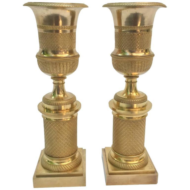 Pair of Empire Gilt Bronze Candlesticks 1820 circa from France