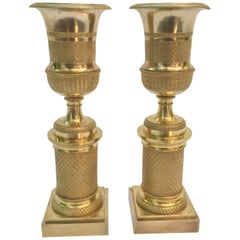 Pair of Empire Gilt Bronze Candlesticks 1820 circa from France