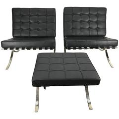 Classic Pair Barcelona Chairs with Ottoman, Mies Van Der Rohe, Italy
