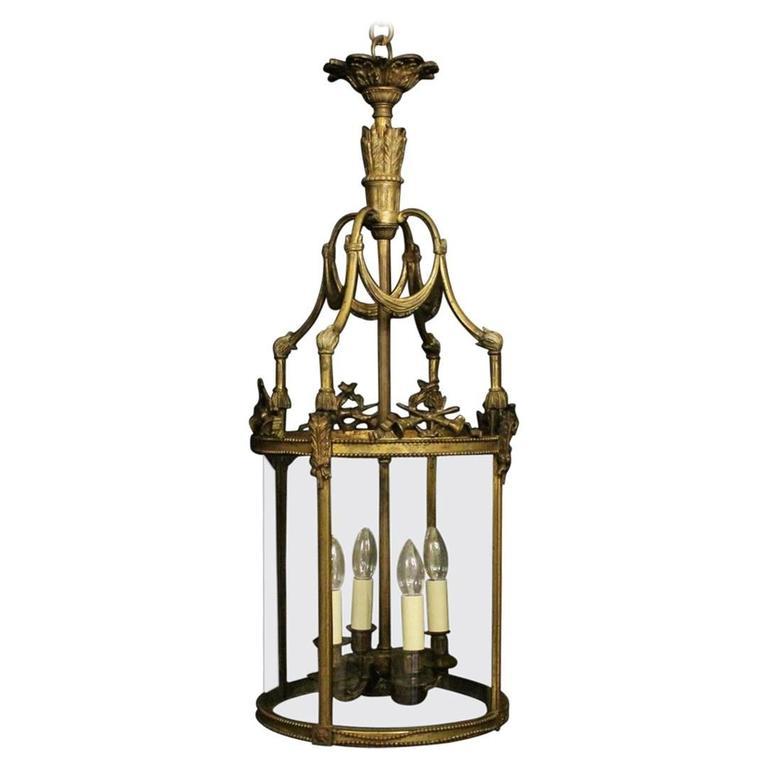 19th Century French Bronze Four-Light Antique Lantern
