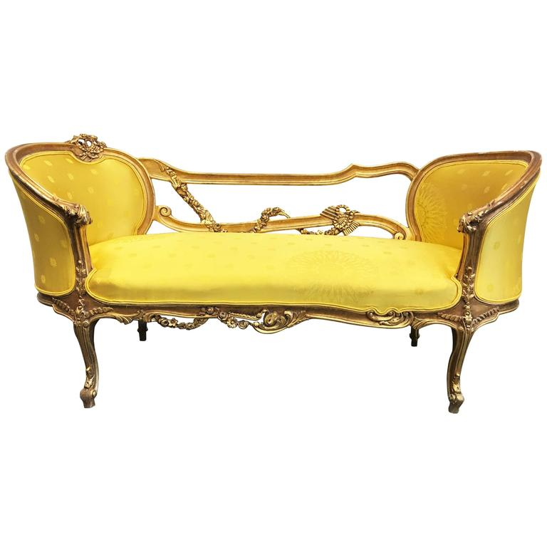 19th century french rococo style louis xv giltwood settee for French rococo furniture