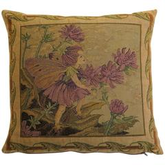 Mid-20th Century, Tapestry Cushion or Pillow, Fairy Nymph, Duck Feather Insert