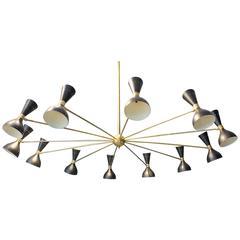 Large Italian 24-Light Chandelier, Stilnovo Style