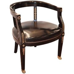 19th Century French Ebonized and Black Leather Desk Chair