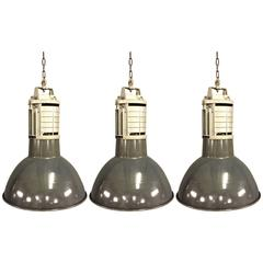 Three Pieces Big French Industrial Pendant Lights by Mazda
