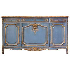 French, 19th Century Provencal Long Enfilade Marble Top Buffet in Painted Wood