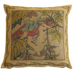 Mid 20th Century, Tapestry Cushion or Pillow, Pixie Elf, Duck Feather Insert