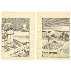 Hokusai Ukiyo-e Japanese Woodblock Print 100 Views of Mt. Fuji, Landscape