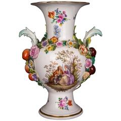 Big Meissen Porcelain Vase Watteau Scene with Fruits and Flowers Paintings
