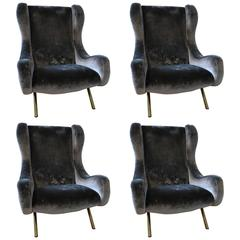 Set of Four Senior Armchairs by Marco Zanuso