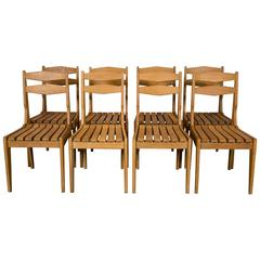 Set of Eight Solid Light Oak Chairs by Guillerme et Chambron, 1960
