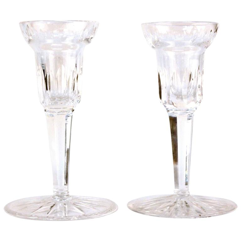 Pair of Glass Waterford Candlesticks 1