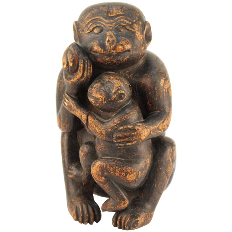 Wooden Sculpture of a Monkey and Her Infant For Sale