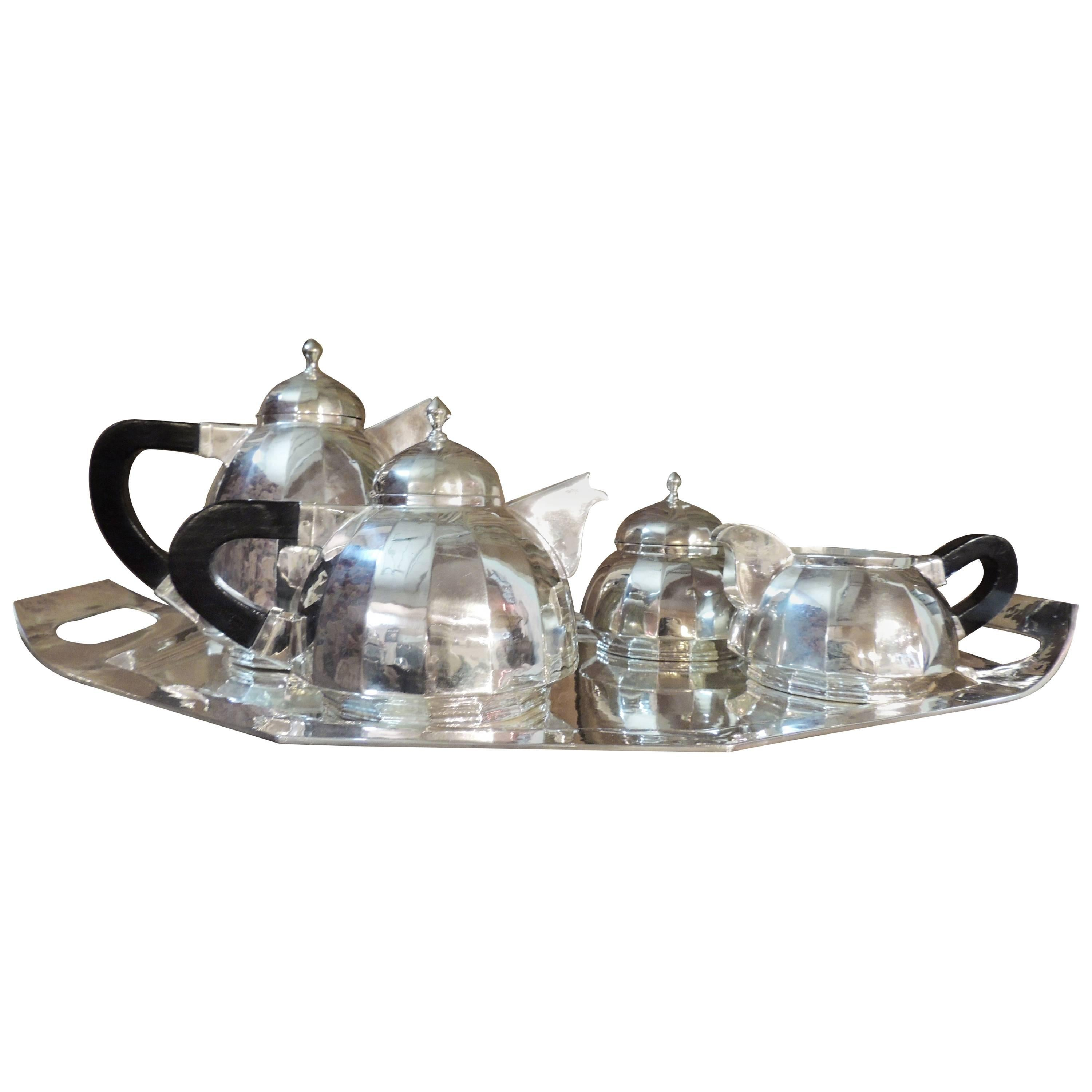 Art Deco Silver Tea and Coffee Service Dome Topped