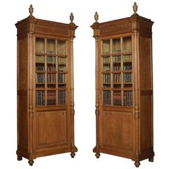 Pair of Tall Oak Bookcases