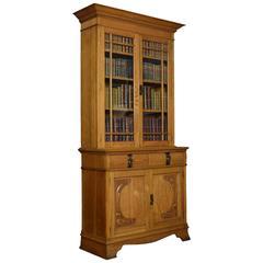 Art Nouveau Oak Two-Door Bookcase
