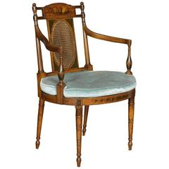 Neoclassical Style Satinwood Painted Bergere Armchair