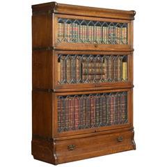Oak Globe Wernicke Three Section Bookcases