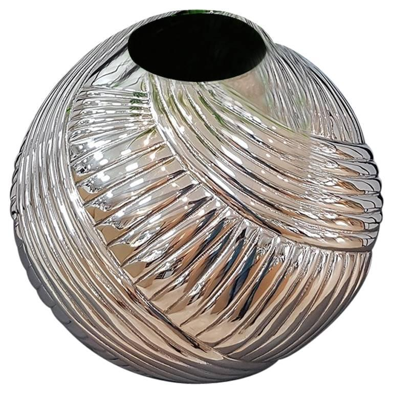 20th Century Italian Silver Globe Vase, ceased and embossed by hand.  For Sale
