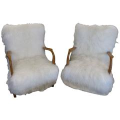 Fantastic Pair of 1960s Reupholstered Armchairs in Tibetan Lamb