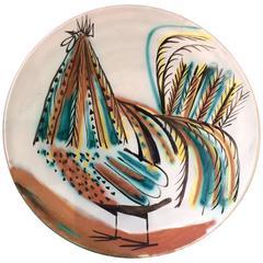 Roger Capron Decorative Bird Round Dish, 1950s