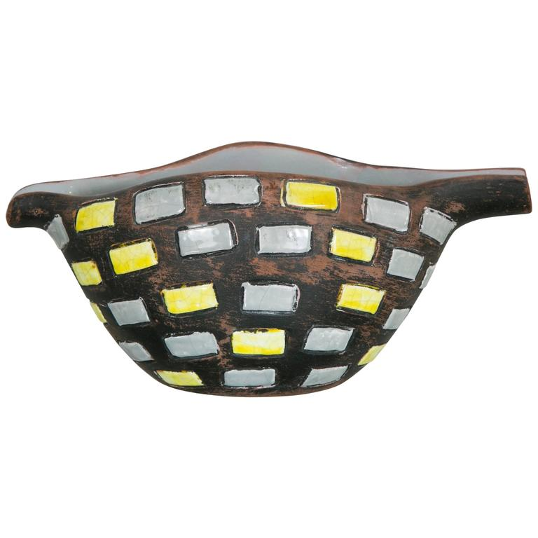 Glazed Ceramic Bowl by Raymor, Italy, 1970s For Sale