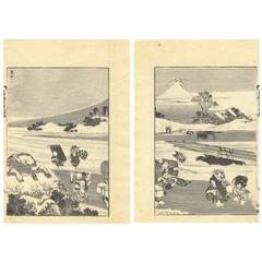 Hokusai Landscape Ukiyo-E Japanese Woodblock Print 100 Views of Mt. Fuji
