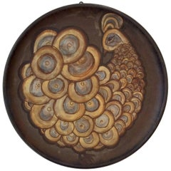 Alexandre Kostanda Peacock Ceramic Dish Vallauris, 1960s