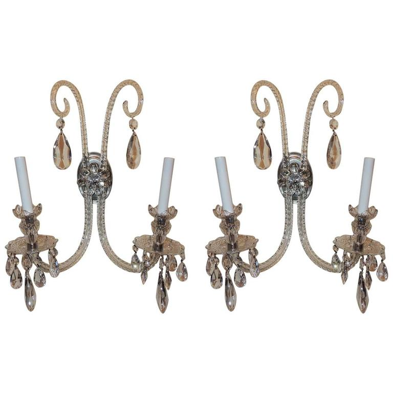 Elegant Pair of Antique Cut Crystal Georgian Silvered Bronze Floral Sconces