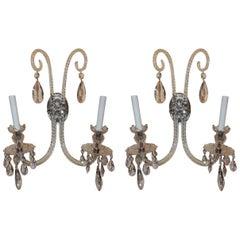Elegant Pair of Antique Cut Crystal Georgian Silvered Bronze Floral Sconces