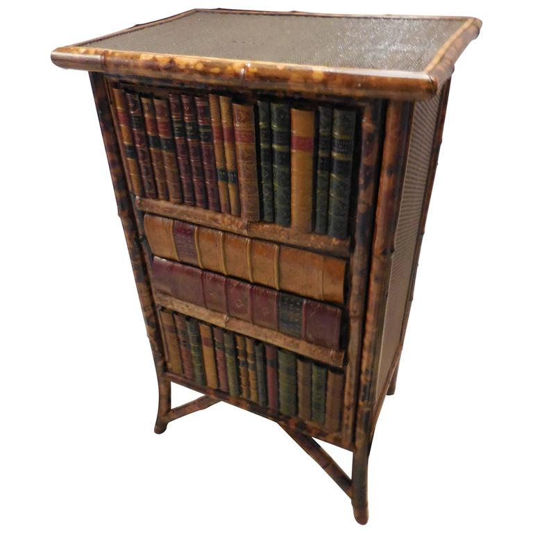 Mid-20th Century Bamboo Library Cabinet 1