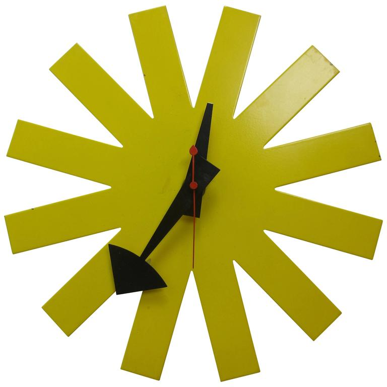 George Nelson Original Yellow Asterisk Clock by Howard Miller 1