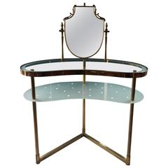 Italian Dressing Table and Chair, brass, circa 1950s