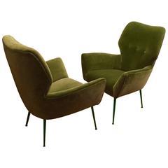 Pair of Mid-Century Italian Armchairs in Deep Green Velour