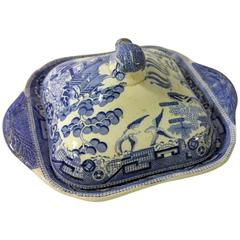19th Century English Transfer-Ware Lidded Vegetable Dish