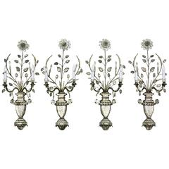 Antique Crystal Glass Wall Light Sconces, French Maison Baguès, Set of Four