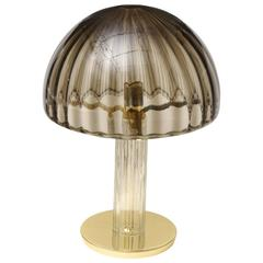 Italian Murano Vistosi Dome Brass and Glass Table or Desk Lamp