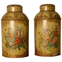 Pair of Early Very Large Hand-Painted Toleware Tea Canisters with Lids