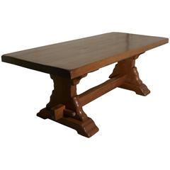 Large French Golden Oak Arts and Crafts Refectory Table