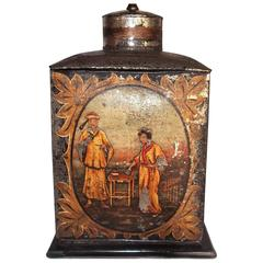 Late Regency Chinoiserie Decorated Tole Tea Canister