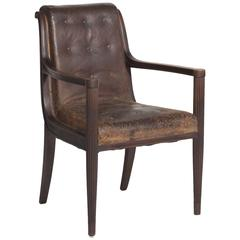 Walnut and Leather Desk Chair, circa 1900