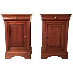 Pair of French Cherrywood Bedside Cupboards or Night Tables