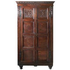 17th Century Carved Oak Cupboard or Wardrobe