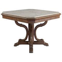 Walnut and Carrara Marble Centre Table, circa 1870