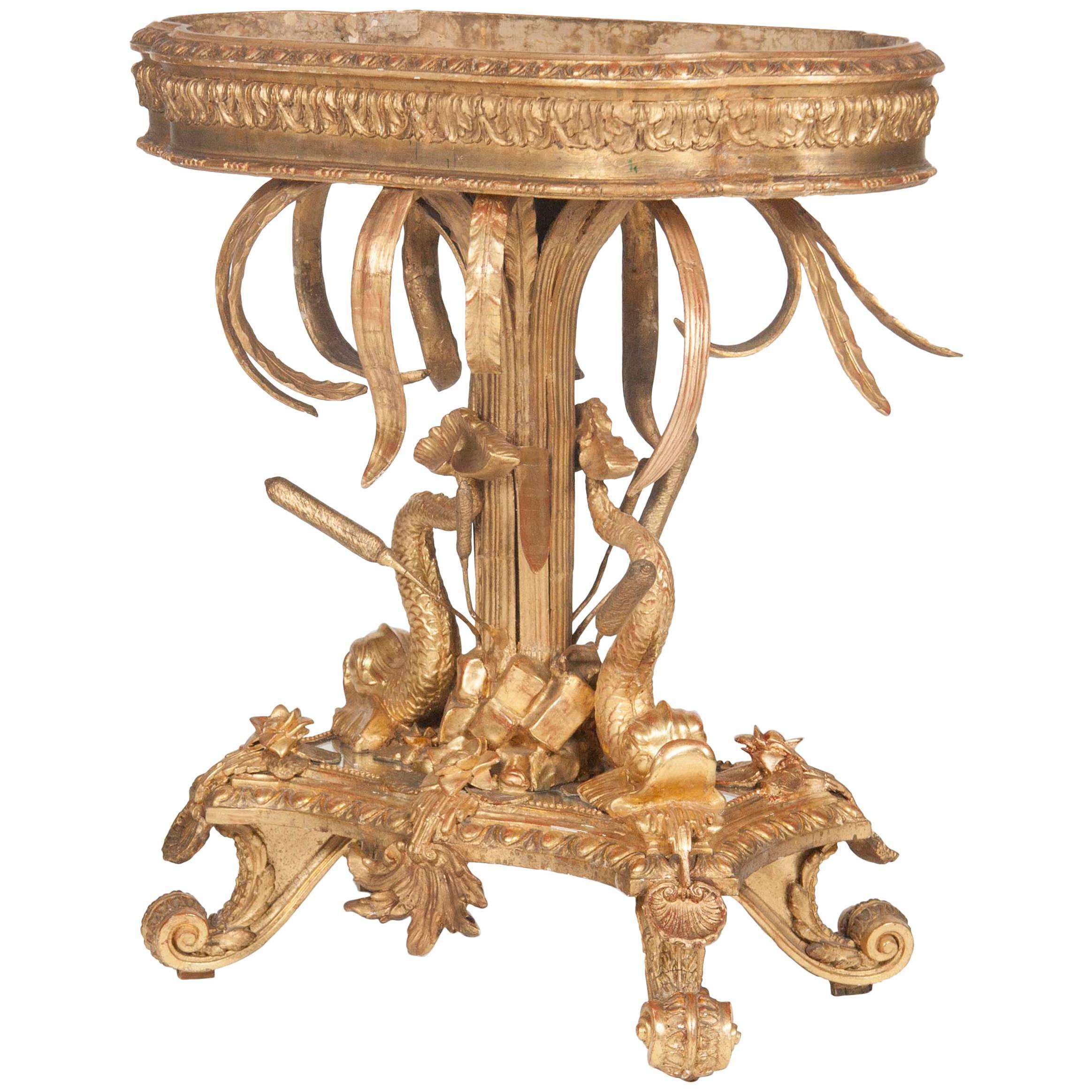 Italian Belle Epoque Gilt Wood Jardiniere with Liner