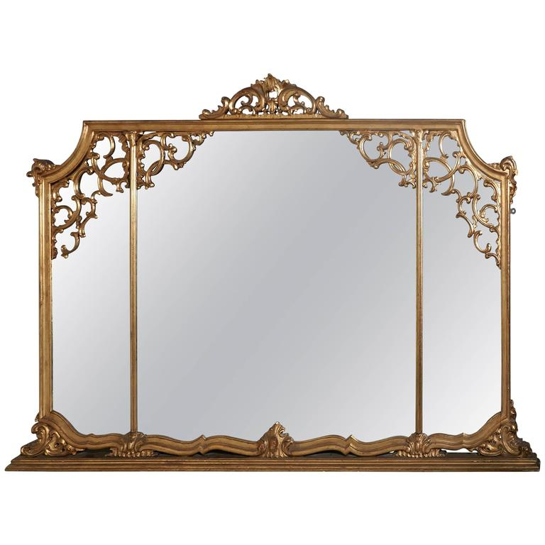 Very Large 19th Century Adams Style Gilt over Mantle Wall Mirror For Sale