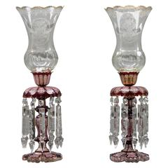 Pair of Late 19th Century Baccarat Cranberry Crystal Lusters with Hurricanes