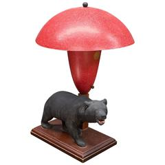 1940s California Rustic Modern Bear with Red Fiberglass Marplex Lamp
