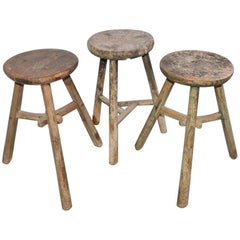 Three Vintage Asian Wood Stools, Sold Singly